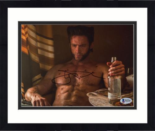 """Framed Hugh Jackman Autographed 8"""" x 10"""" Drinking Photograph - Beckett COA"""