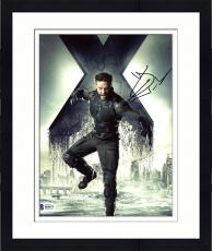 "Framed Hugh Jackman Autographed 8"" x 10"" Xmen Wolverine Jumping with X in Background Photograph - Beckett COA"