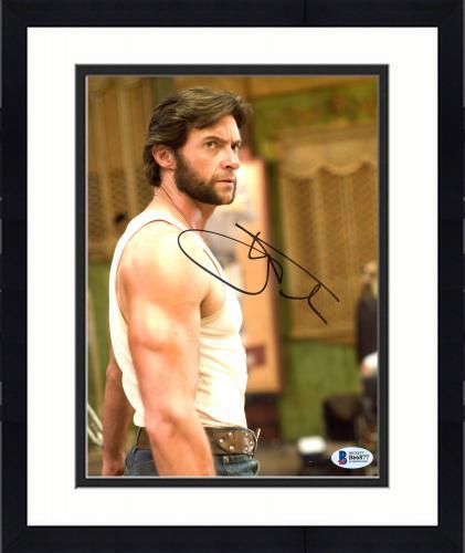 """Framed Hugh Jackman Autographed 8"""" x 10"""" Xmen Wolverine Tank Top & Blue Jeans Photograph - Beckett COA"""