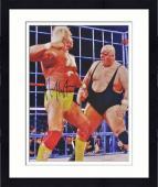 "Framed Hulk Hogan Autographed 16"" x 20"" vs King Kong Bundy Photograph"