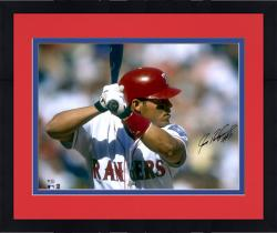 Framed Ivan Rodriguez Texas Rangers Autographed 16'' x 20'' In Batting Stance Horizontal Photograph