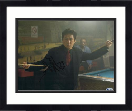 """Framed Jackie Chan Autographed 11"""" x 14"""" Rush Hour Pool Stick Photograph -  BAS COA"""