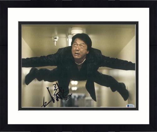 """Framed Jackie Chan Autographed 11"""" x 14"""" Rush Hour Wall Photograph - BAS COA"""