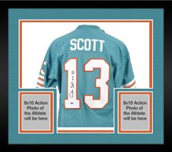 Framed Jake Scott Miami Dolphins Autographed Teal Blue Jersey with MVP XII Inscription