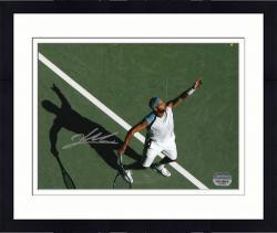 "Framed James Blake Autographed 8"" x 10"" Tennis Serve Action Photograph"