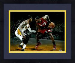Framed LeBron James Miami Heat & Paul George Indiana Pacers Dual Autographed 16'' x 20'' with Ball Photograph