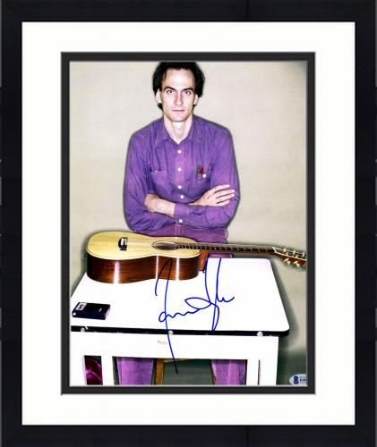 """Framed James Taylor Autographed 11"""" x 14"""" Sitting with Guitar Photograph - Beckett COA"""