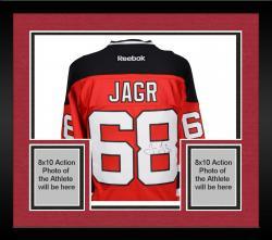 Framed Jaromir Jagr New Jersey Devils Autographed Red Reebok Premier Jersey