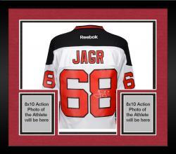 Framed Jaromir Jagr New Jersey Devils Autographed White Reebok Premier Jersey