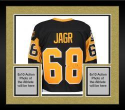 Framed Jaromir Jagr Pittsburgh Penguins Autographed Black Stanley Cup Patch Jersey