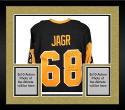 Framed Jaromir Jagr Pittsburgh Penguins Autographed Black Stanley Cup Patch Jersey with 2X SC Champs Inscription