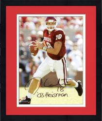 Framed Jason White Oklahoma Sooners Autographed 8'' x 10'' Vertical Red Uniform Passing Photograph with 2003 Heisman Inscription