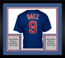 Framed Javier Baez Chicago Cubs Autographed Majestic Replica Blue Jersey