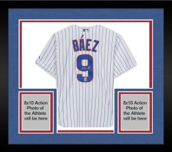 Framed Javier Baez Chicago Cubs Autographed Majestic Replica White Jersey
