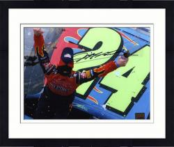 Framed Jeff Gordon Autographed 8'' x 10'' Car Shot Photograph