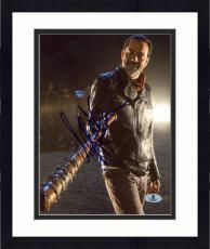 """Framed Jeffrey Morgan Autographed 8"""" x 10"""" The Walking Dead Lucille Photograph - Beckett COA"""