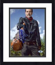 "Framed Jeffrey Morgan Autographed 8"" x 10"" The Walking Dead Pointing Bat Photograph - Beckett COA"