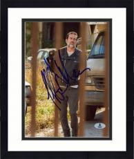 "Framed Jeffrey Morgan Autographed 8"" x 10"" The Walking Dead Rail Pose Photograph - Beckett COA"