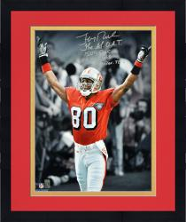 """Framed Jerry Rice San Francisco 49ers Autographed 16"""" x 20"""" Photograph with 4 Inscriptions"""