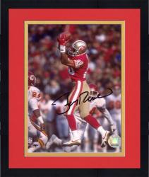 Framed Jerry Rice San Francisco 49ers Autographed 8'' x 10'' Jumping For Ball Photograph
