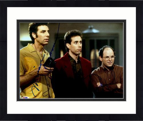 "Framed Jerry Seinfeld, Michael Richards & Jason Alexander Autographed 11"" x 14"" Seinfeld: Group Shot Photograph - PSA LOA"