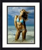 """Framed Jessica Alba Autographed 11"""" x 14"""" Posing Wearing Swimsuit on Knees Photograph - Beckett COA"""