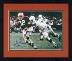 "Framed Jim Brown Cleveland Browns Autographed 16"" x 20"" Action Photograph with HOF 71 Inscription"