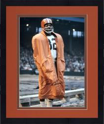 """Framed Jim Brown Cleveland Browns Autographed 16"""" x 20"""" In Raincoat Photograph"""