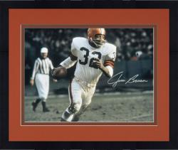 Framed Jim Brown Cleveland Browns Autographed 16'' x 20'' Run With Ball Silver Ink Photograph
