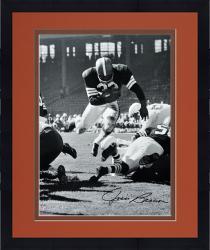 "Framed Jim Brown Cleveland Browns Autographed 16"" x 20"" Vertical Touchdown Dive Photograph"