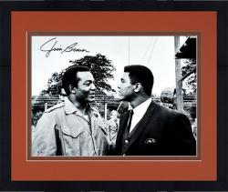Framed Jim Brown Cleveland Browns Autographed 16'' x 20'' with Muhammad Ali Photograph