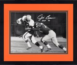 Framed Jim Brown Cleveland Browns Autographed 16'' x 20'' B&W Tackled Photograph with HOF 71 Inscription