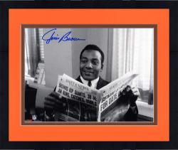 "Framed Jim Brown Cleveland Browns Autographed 8"" x 10"" Horizontal Newspaper Photograph"