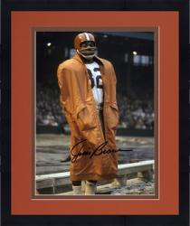 """Framed Jim Brown Cleveland Browns Autographed 8"""" x 10"""" In Raincoat Photograph"""