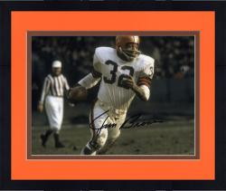 Framed Jim Brown Cleveland Browns Autographed 8'' x 10'' Run with Ball Photograph
