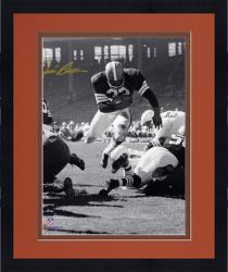 Framed Jim Brown Cleveland Browns Autographed 8'' x 10'' Vertical Touchdown Dive Photograph