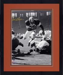 "Framed Jim Brown Cleveland Browns Autographed 8"" x 10"" Vertical Touchdown Dive Photograph"