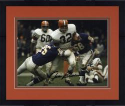 """Framed Jim Brown Cleveland Browns Autographed 8"""" x 10"""" vs Minnesota Vikings Photograph"""
