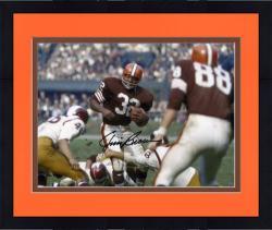 "Framed Jim Brown Cleveland Browns Autographed 8"" x 10"" vs Washington Redskins Photograph"