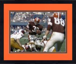 "Framed Jim Brown Cleveland Browns Autographed 8"" x 10"" vs Washington Redskins Photograph"