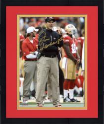 "Framed Jim Harbaugh San Francisco 49ers Autographed 8"" x 10"" Photograph"