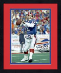 "Framed Jim Kelly Buffalo Bills Autographed 16"" x 20"" Drop Back Photograph with HOF 2002 Inscription"