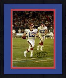 "Framed Jim Kelly Buffalo Bills Autographed 16"" x 20"" Scramble Photograph with HOF 2002 Inscription"