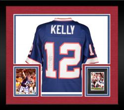 "Framed Jim Kelly Buffalo BIlls Autographed Jersey with ""HOF 2002"" Inscription"