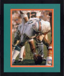 "Framed Jim Langer Miami Dolphins Autographed 8"" x 10"" Action Photograph with HOF 87 and 17-0 Inscription"