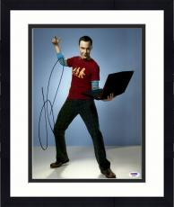 "Framed Jim Parsons Autographed 11"" x 14""  Holding Computer Photograph - PSA/DNA"