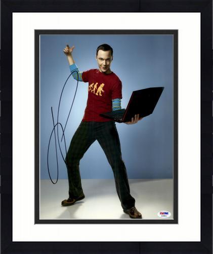 "Framed Jim Parsons Autographed 11"" x 14""  Holding Computer Photograph - PSA/DNA"