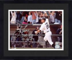 """Framed Jim Thome Chicago White Sox 500th HR Autographed 8"""" x 10"""" Arm In Air Photograph with 500 HR 9-16-07 Inscription"""