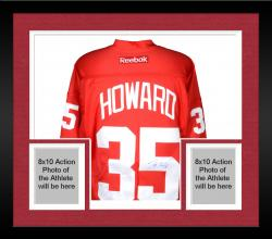 Framed Jimmy Howard Detroit Red Wings Autographed Reebok Red Jersey