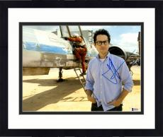 "Framed J.J. Abrams Autographed 11"" x 14""- Standing In Front Of Fignter Jet Star Wars The Force Awakens Photograph Beckett COA"